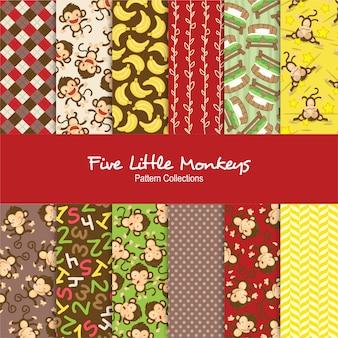 Set di cinque modelli di piccole scimmie