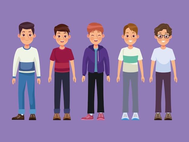 Gruppo di cinque uomini