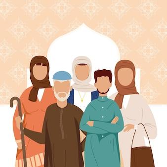 Gruppo di cinque persone della comunità musulmana