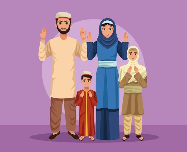 Cinque genitori di famiglia musulmani