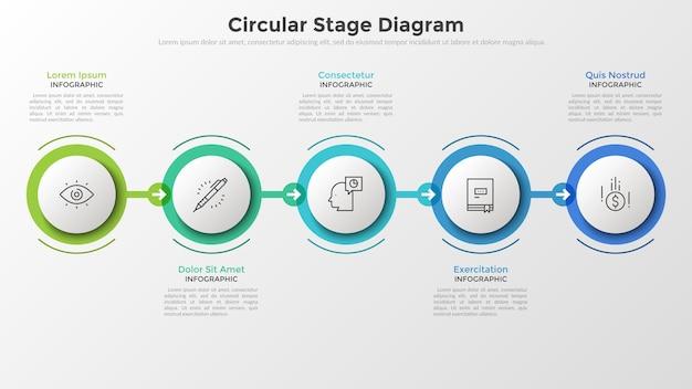 Cinque elementi rotondi di carta bianca in cornici colorate disposti in fila orizzontale e collegati da frecce. concetto di 5 fasi di sviluppo successivo. layout di progettazione infografica.