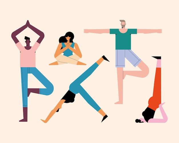 Cinque persone che praticano personaggi yoga yoga