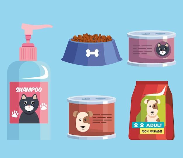 Cinque icone del negozio di animali