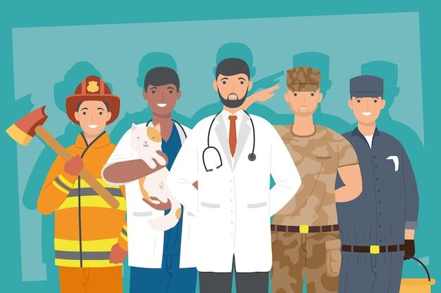 Scena di cinque lavoratori professionisti