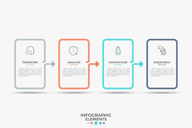 Cinque elementi rettangolari collegati da frecce. modello di progettazione infografica semplice. illustrazione vettoriale moderna per brochure, report, grafico di processo, barra di avanzamento, visualizzazione del concetto di business.