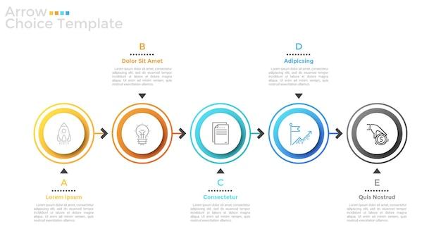 Cinque elementi rotondi con icone a linee sottili all'interno disposte in righe orizzontali e collegate da frecce. concetto di 5 passaggi successivi al guadagno finanziario. layout di progettazione infografica. illustrazione vettoriale.