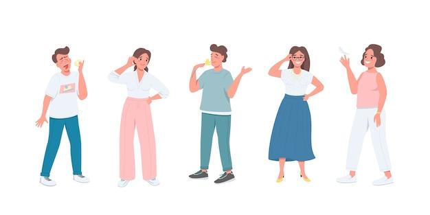 Set di caratteri dettagliati a colori piatti dei cinque sensi. varie espressioni facciali. uomini e donne con emozioni diverse hanno isolato l'illustrazione del fumetto per il web design grafico e la raccolta di animazione