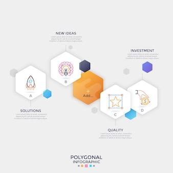 Cinque elementi esagonali di carta bianca separati con simboli di linea sottile e lettere all'interno e posto per il testo. layout di progettazione infografica. illustrazione vettoriale per menu del sito web, presentazione multimediale.