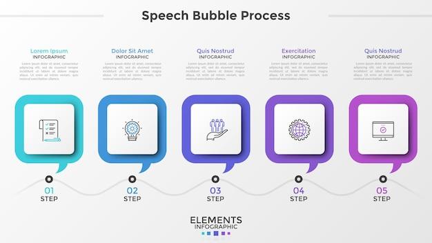 Cinque fumetti quadrati con simboli lineari all'interno e caselle di testo posizionate in una riga orizzontale. concetto di 5 fasi di sviluppo progressivo. modello di progettazione infografica moderna. illustrazione vettoriale.