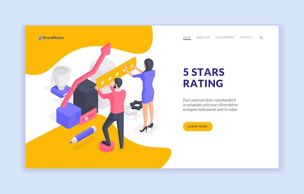 Modello di banner del sito web di valutazione di cinque stelle