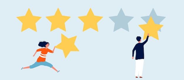 Valutazione di cinque stelle. donna uomo con stella, recensioni. illustrazione di comunicazione di marketing e social media.