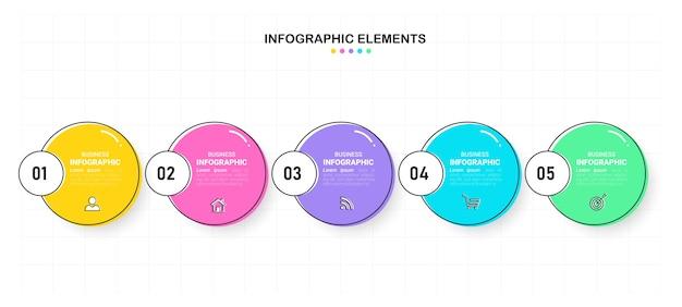 Infografica aziendale in cinque passaggi.