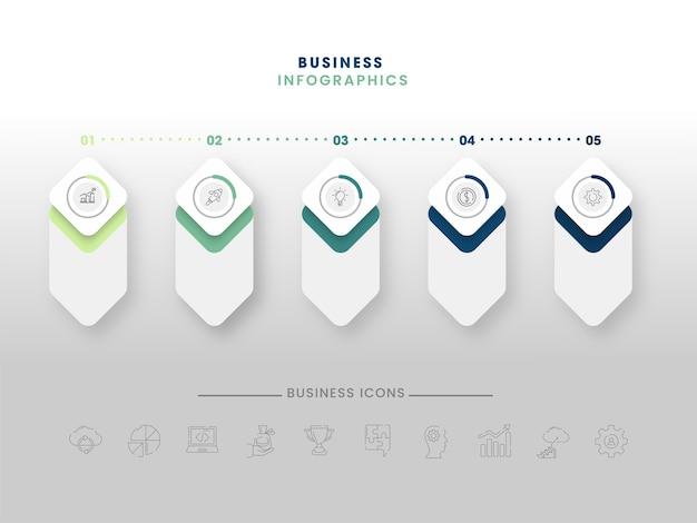 Layout del modello di infografica aziendale in cinque passaggi
