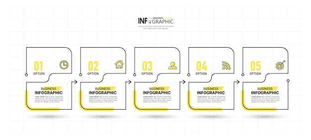 Cinque passaggi infografica sottile linea di design