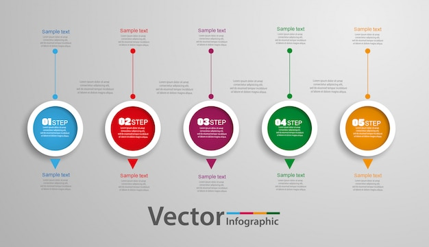 Infographics di cinque passaggi con cerchi colorati