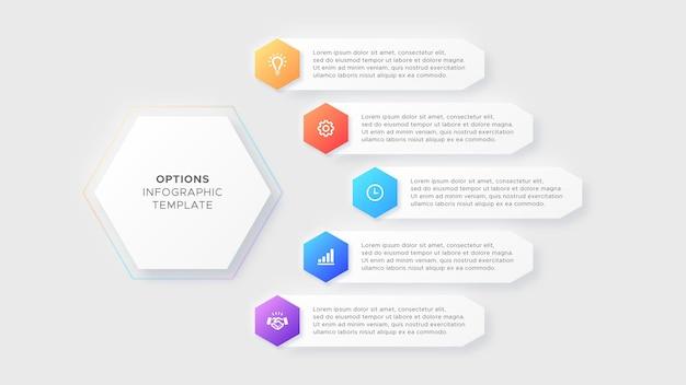 Cinque passaggi opzioni business infographic design moderno modello