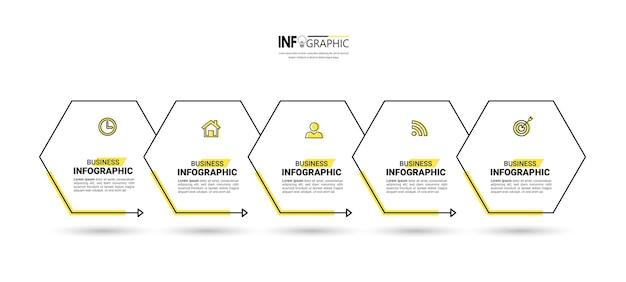 Modello di infografica timeline in cinque passaggi Vettore Premium