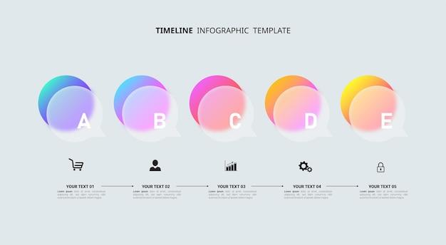 Modello di infografica timeline in cinque passaggi