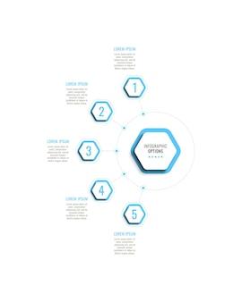 Modello di infografica verticale a cinque passaggi con elementi esagonali azzurri su sfondo bianco