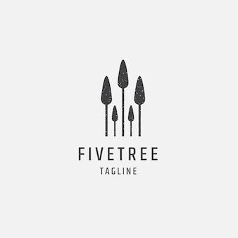 Modello di progettazione dell'icona del logo dei cinque alberi