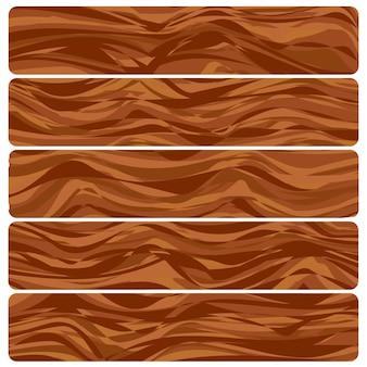 Cinque tavole di legno. struttura di legno astratta di vettore nella progettazione piana.