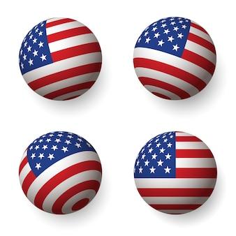 Bandiera d'america a forma di cerchio.