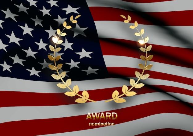 Bandiera d'america, illustrazione realistica di ramoscelli di alloro.