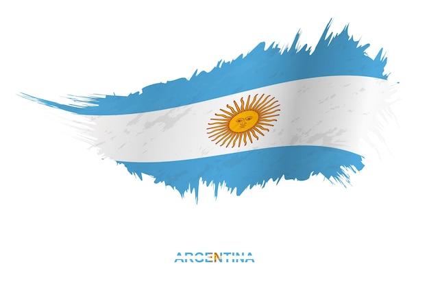 Bandiera dell'argentina in stile grunge con effetto ondeggiante, bandiera del tratto di pennello del grunge vettoriale.