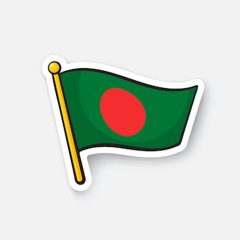 Bandiera del bangladesh simbolo della posizione per i viaggiatori adesivo del fumetto illustrazione vettoriale