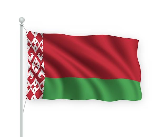 Bandiera bielorussia sul pennone isolato su bianco