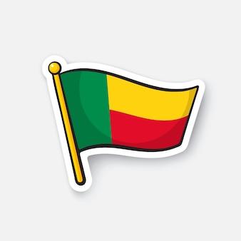 Bandiera dei paesi del benin in africa simbolo di posizione per i viaggiatori illustrazione vettoriale