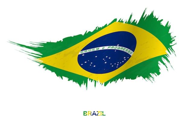 Bandiera del brasile in stile grunge con effetto ondeggiante, bandiera del tratto di pennello del grunge di vettore.