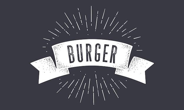 Bandiera burger. bandiera della bandiera della vecchia scuola con testo burger.
