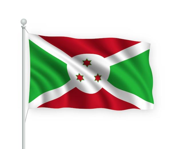 Bandiera burundi sul pennone isolato su bianco