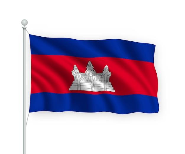 Bandiera cambogia sul pennone isolato su bianco