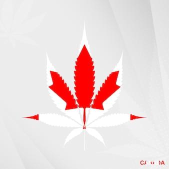 Bandiera del canada a forma di foglia di marijuana. il concetto di legalizzazione cannabis in canada.