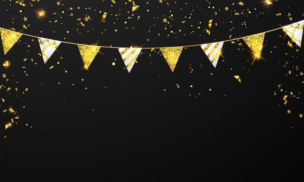 Bandiera celebrazione coriandoli e nastri cornice dorata festa banner
