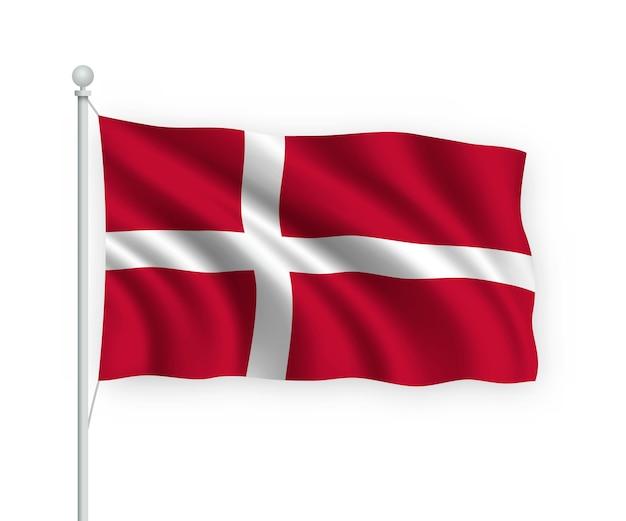 Bandiera danimarca sul pennone isolato su bianco