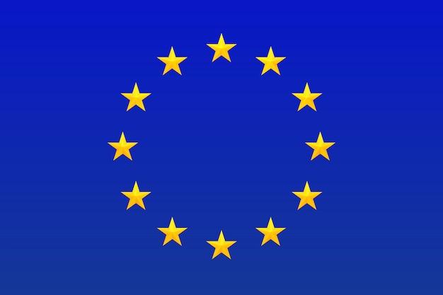 Bandiera dell'europa. simbolo dell'unione europea. cerchio di stelle luminose, oro isolato su sfondo blu