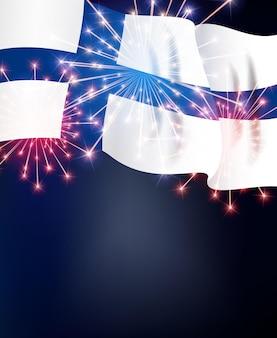 Bandiera della finlandia con fuochi d'artificio