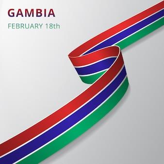 Bandiera del gambia. 18 febbraio. illustrazione vettoriale. nastro ondulato su sfondo grigio. giorno dell'indipendenza. simbolo nazionale. modello di progettazione grafica.