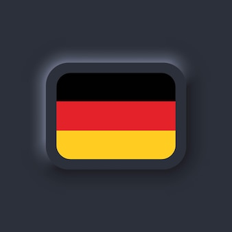 Bandiera della germania. bandiera nazionale della germania. bandiera tedesca. simbolo della germania. illustrazione vettoriale. eps10. icone semplici con bandiere. interfaccia utente scura di neumorphic ui ux. neumorfismo