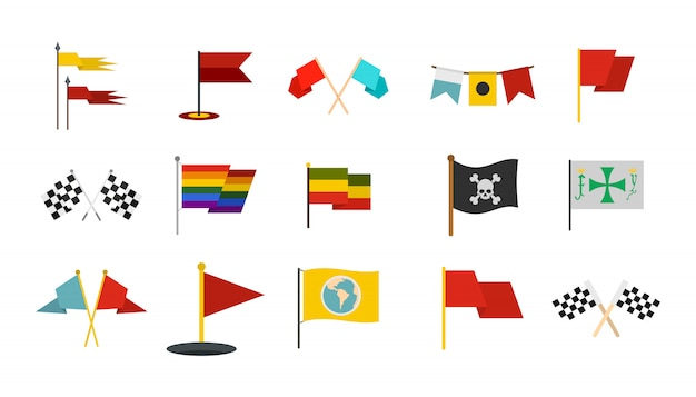 Set di icone bandiera insieme piano della raccolta delle icone di vettore della bandiera isolato Vettore Premium