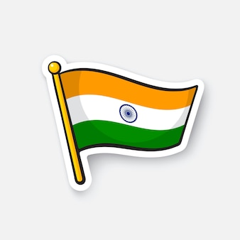 Bandiera dell'india sull'asta della bandiera simbolo di posizione per i viaggiatori adesivo del fumetto illustrazione vettoriale