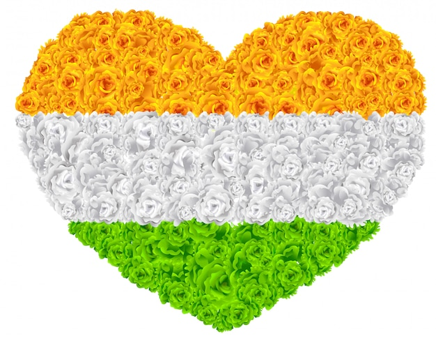 Bandiera india forma di cuore ghirlanda di fiori mala