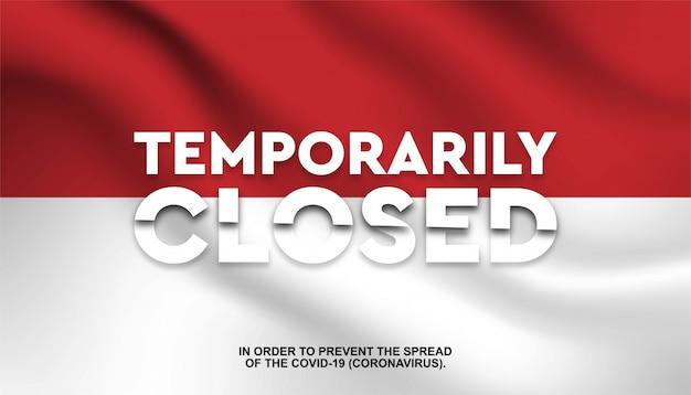 Bandiera dell'indonesia con testo temporaneamente chiuso.