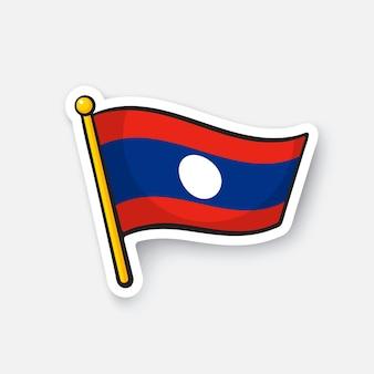 Bandiera del laos simbolo di posizione per i viaggiatori adesivo di cartone animato con contorno illustrazione vettoriale