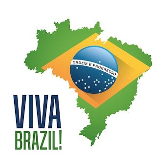 Icona bandiera e mappa. cultura del brasile america e tema del turismo