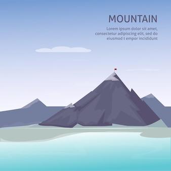 Bandiera sulla montagna. concetto di affari. vincere il concorso o il design trionfante. stile cartone animato