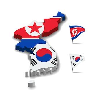 Bandiera della corea del nord e della corea del sud mappa bandiera amicizia relazione design sfondo vettoriale illu